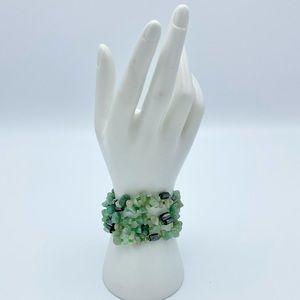 Boho Green Stone & Hematite Magnetic Wrap Bracelet